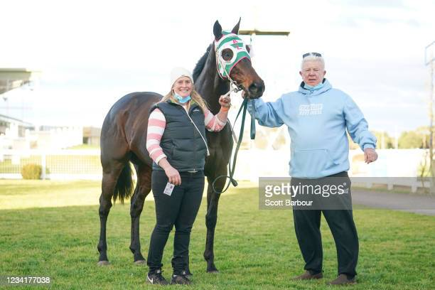 Andrea and John Leek after Heir to the Throne won the Gippsland Funeral Services BM70 Handicap at Sale Racecourse on July 25, 2021 in Sale, Australia.