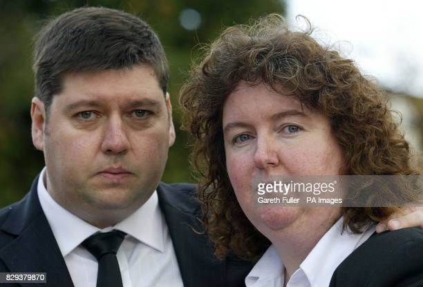 Andrea and Paul Gallagher speak to the media outside Bromley Magistrates Court in Kent after giving evidence at the inquest into their son Paul's...