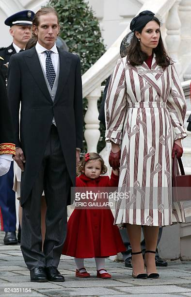Andrea and Tatiana Casiraghi attend the celebrations marking Monaco's National Day at the Monaco Palace on November 19 2016 / AFP / POOL / ERIC...