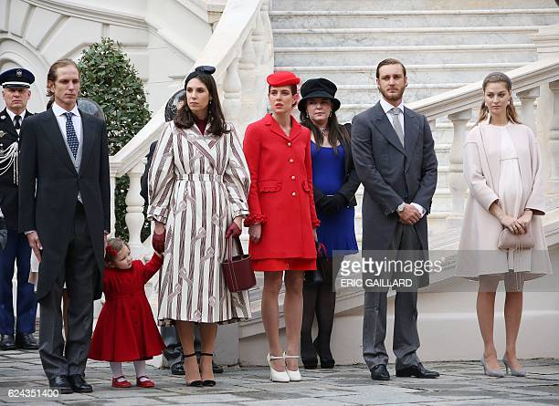 Andrea and Tatiana Casiraghi Charlotte Casiraghi Pierre and Beatrice Casiraghi attend the celebrations marking Monaco's National Day at the Monaco...
