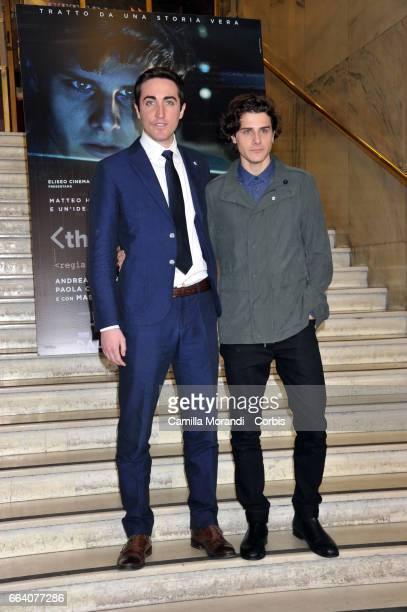 Andrea Arcangeli and Matteo Achilli attend a photocall for 'The Startup' on April 3 2017 in Rome Italy