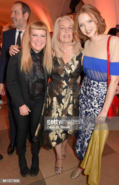Andrea Arnold Amanda Nevill and Lily Cole attend a cocktail reception at the 61st BFI London Film Festival Awards at Banqueting House on October 14...