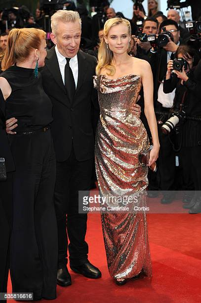 """Andrea Arnold, Jean-Paul Gaultier and Diane Kruger at the premiere for """"Amour"""" during the 65th Cannes International Film Festival."""