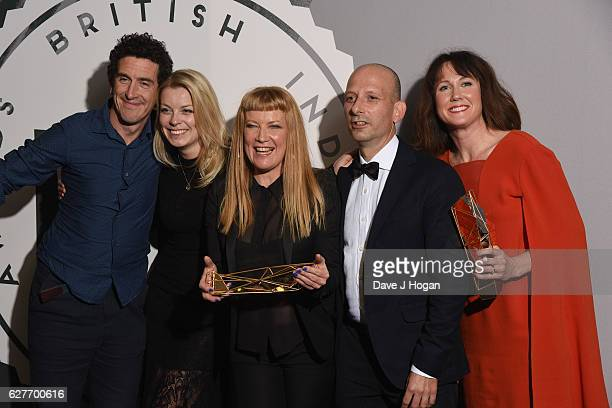 Andrea Arnold Martin Freeman and the cast of American Honey pose at The British Independent Film Awards at Old Billingsgate Market on December 4 2016...