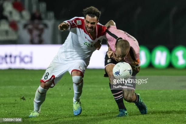 Andrea Arrighini and Aljaz Struna during the Serie B match between Carpi and Palermo at Stadio Sandro Cabassi on October 30 2018 in Carpi Italy