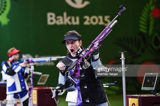 Andrea Arsovic of Serbia celebrates winning the gold medal in the Womens 10m Air Rifle during day four of the Baku 2015 European Games at Baku...