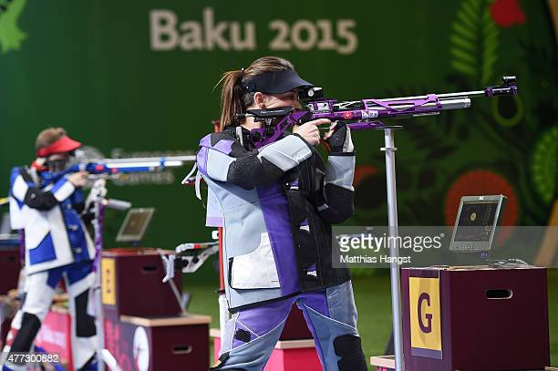 Andrea Arsovic of Serbia competes in the Womens 10m Air Rifle during day four of the Baku 2015 European Games at Baku Shooting Centre on June 16 2015...