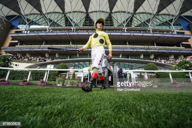 Andrea Atzeni leaves the weighing room on day 2 of Royal Ascot at Ascot Racecourse on June 20 2018 in Ascot England