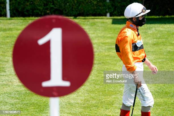 Andrea Atzeni makes his way to the parade ring at Goodwood Racecourse on July 31 2020 in Chichester England Owners are allowed to attend if they have...