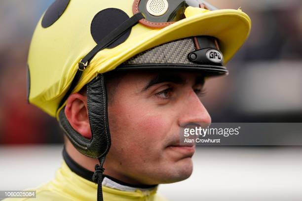 Andrea Atzeni poses at Doncaster Racecourse on October 27 2018 in Doncaster England