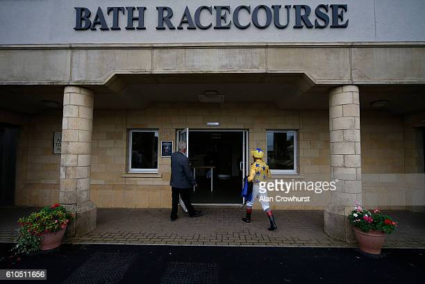 Andrea Atzeni returns to the weighing room at Bath Racecourse on September 26 2016 in Bath England