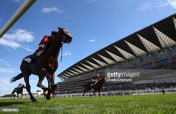Andrea Atzeni rides Arod to win The Fred Cowley MBE Memorial Summer Miles Stakes at Ascot racecourse on July 11 2015 in Ascot England