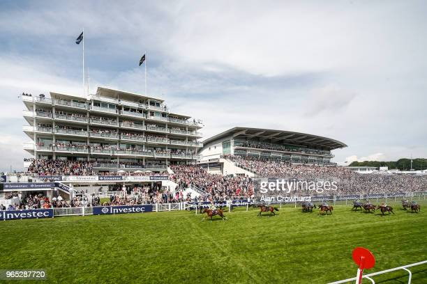 Andrea Atzeni riding Ajman King win The Investec Wealth Investment Handicap Stakes during the Investec Ladies Day at Epsom Downs Racecourse on June 1...