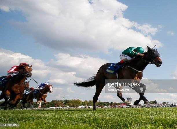 Andrea Atzeni riding Aljazzi win The BetBright Casino Atalanta Stakes at Sandown Park racecourse on September 2 2017 in Esher England