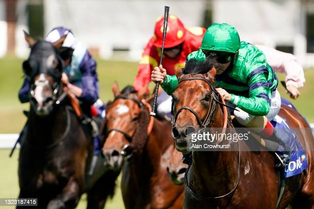 Andrea Atzeni riding Atalis Bay win The Coral 'Beaten By A Length' Free Bet Scurry Stakes at Sandown Park Racecourse on June 12, 2021 in Esher,...