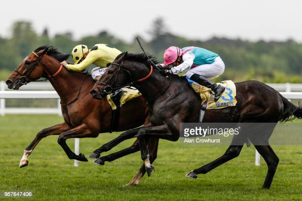 Andrea Atzeni riding Barsanri win The Carey Group Buckhounds Stakes from Mirage Dancer at Ascot Racecourse on May 12 2018 in Ascot United Kingdom