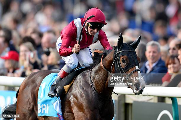 Andrea Atzeni riding Belardo celebrates after winning The Dubai Dewhurst Stakes at Newmarket racecourse on October 17 2014 in Newmarket England