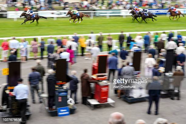 Andrea Atzeni riding Cap Francais win The Gift Of Sight Appeal EBF Novice Stakes at Salisbury Racecourse on September 6 2018 in Salisbury United...
