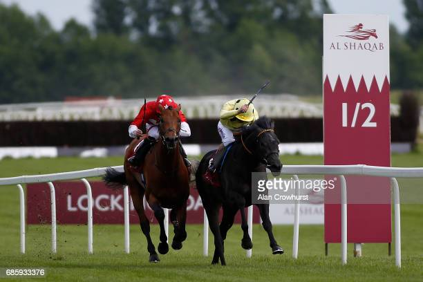 Andrea Atzeni riding Defoe win The Al Zubarah London Gold Cup at Newbury racecourse on May 20 2017 in Newbury England *