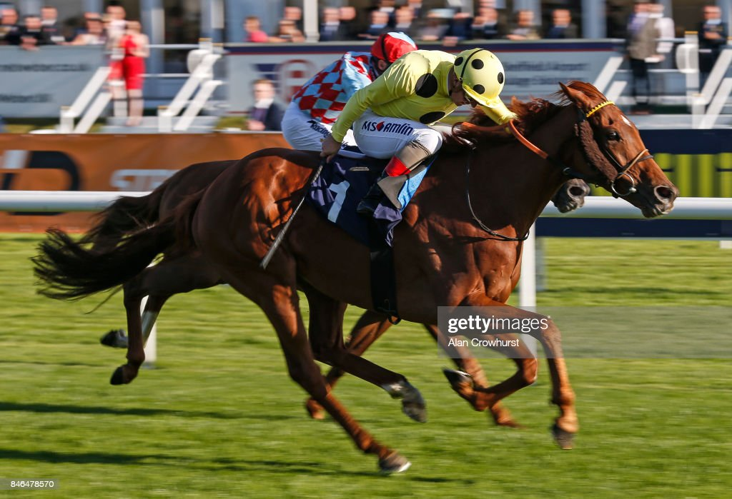 Andrea Atzeni riding Mount Logan (yellow) win The Sports ID - Strength In Sport Conditions Stakes at Doncaster racecourse on September 13, 2017 in Doncaster, United Kingdom.