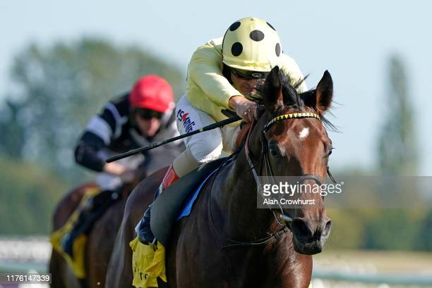 Andrea Atzeni riding Pierre Lapin win The Dubai Duty Free Mill Reef Stakes at Newbury Racecourse on September 21 2019 in Newbury England