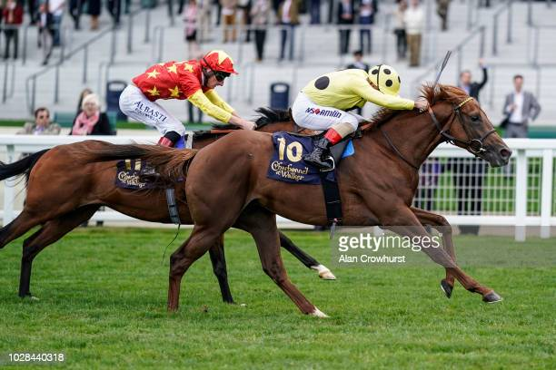 Andrea Atzeni riding Prince Eiji win The Charbonnel Et Walker British EBF Maiden Stakes at Ascot Racecourse on September 7 2018 in Ascot United...