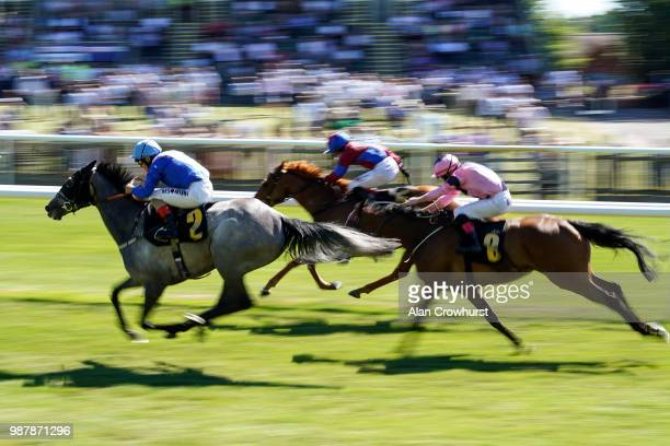 Andrea Atzeni riding Queen Of Connaught win The Betway Fillies' Handicap at Newmarket Racecourse on June 30 2018 in Newmarket United Kingdom