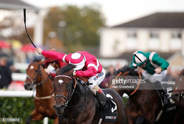 Andrea Atzeni riding Rivet win The Racing Post Trophy at Doncaster Racecourse on October 22 2016 in Doncaster England