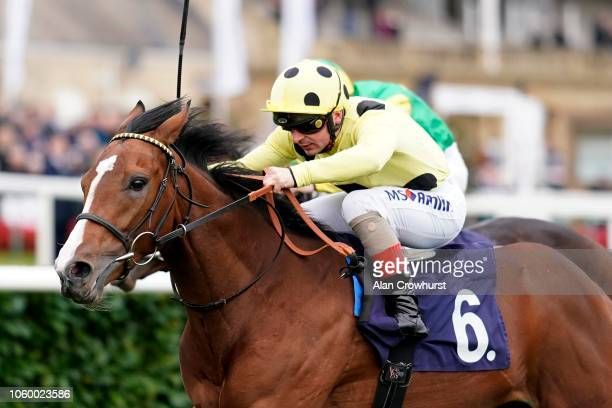 Andrea Atzeni riding San Donato win The Hilton Garden Inn Doncaster Stakes at Doncaster Racecourse on October 27 2018 in Doncaster England