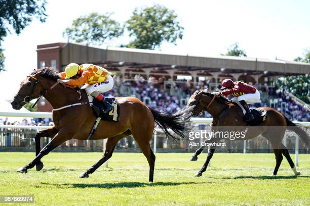 Andrea Atzeni riding Second Step win The Betway Fred Archer Stakes at Newmarket Racecourse on June 30 2018 in Newmarket United Kingdom