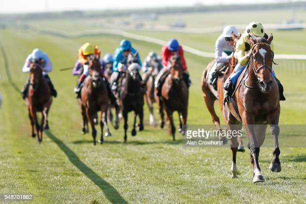 Andrea Atzeni riding Sheikha Reika win The Rossdales Maiden Filliesâ Stakes at Newmarket racecourse on April 19 2018 in Newmarket England