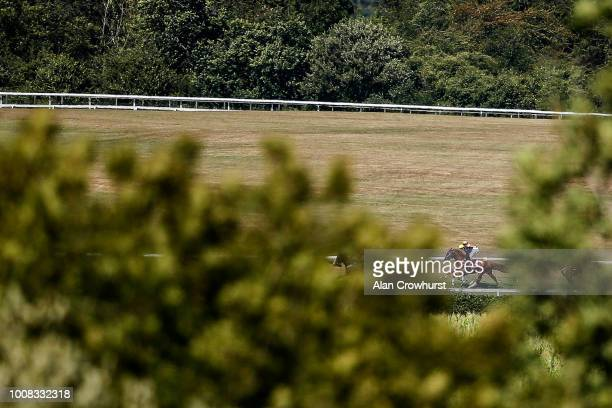 Andrea Atzeni riding Stradivarius on their way to winnig The Qatar Goodwood Cup Stakes at Goodwood Racecourse on July 31 2018 in Chichester United...