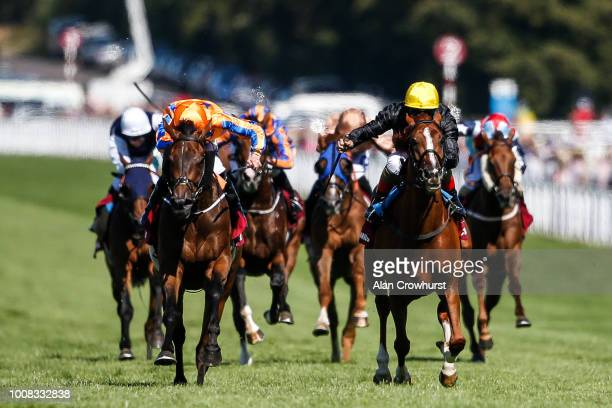 Andrea Atzeni riding Stradivarius win The Qatar Goodwood Cup Stakes from Torcedor at Goodwood Racecourse on July 31 2018 in Chichester United Kingdom