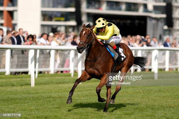 Andrea Atzeni riding Yourtimeisnow win The John Smith Lifetime In Racing British EBF Fillies' Novice Stakesat Newbury Racecourse on August 17 2018 in...