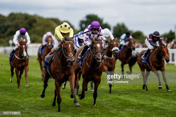 Andrea Atzeni riding Yourtimeisnow win The Shadwell Dick Poole Fillies' Stakes at Salisbury Racecourse on September 6 2018 in Salisbury United Kingdom
