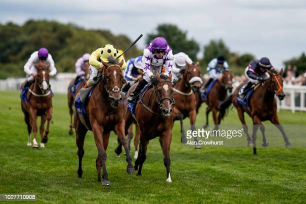 Andrea Atzeni riding Yourtimeisnow wins The Shadwell Dick Poole Fillies' Stakes at Salisbury Racecourse on September 6 2018 in Salisbury United...