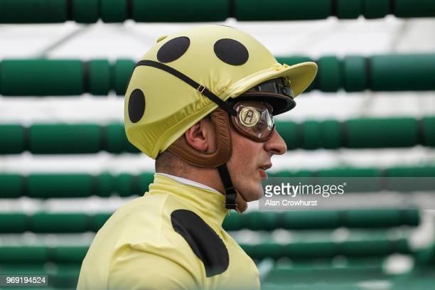 Andrea Atzeni waits in the stalls at Sandown Park Racecourse on June 7 2018 in Esher United Kingdom