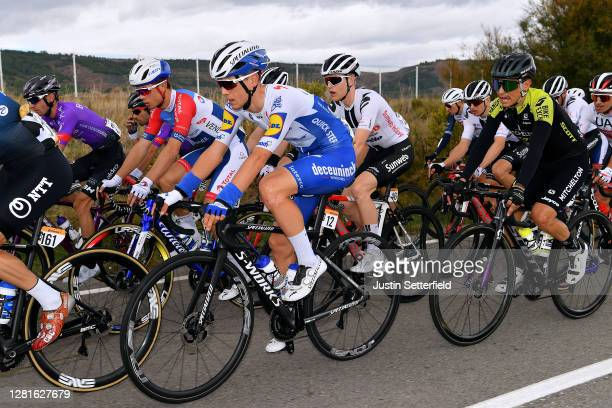 Andrea Bagioli of Italy and Team Deceuninck QuickStep / Valentin Ferron of France and Team Total Direct Energie / Michael Storer of Australia and...