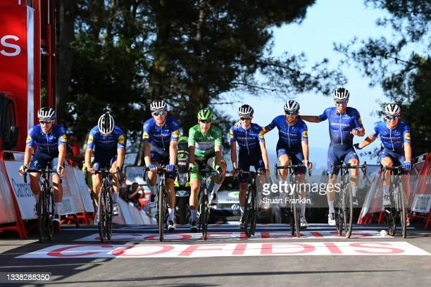 Andrea Bagioli of Italy, Josef Cerny of Czech Republic, Fabio Jakobsen of Netherlands green points jersey, James Knox of United Kingdom, Florian...
