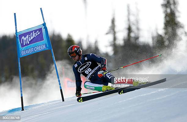 Andrea Ballerin of Italy descends the hill during the first run of the Audi FIS Ski World Cup Giant Slalom race on the Birds of Prey on December 6...