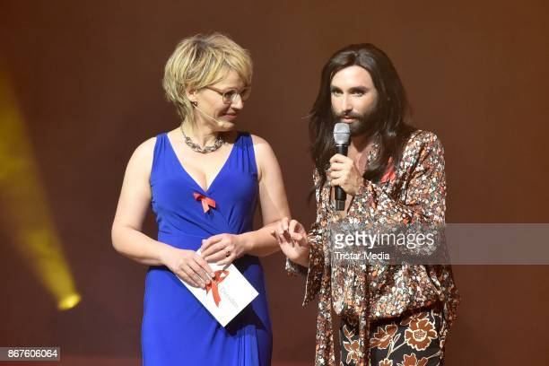 Andrea Ballschuh and Conchita Wurst attend the 12th Hope Charity Gala at Kulturpalast on October 28 2017 in Dresden Germany