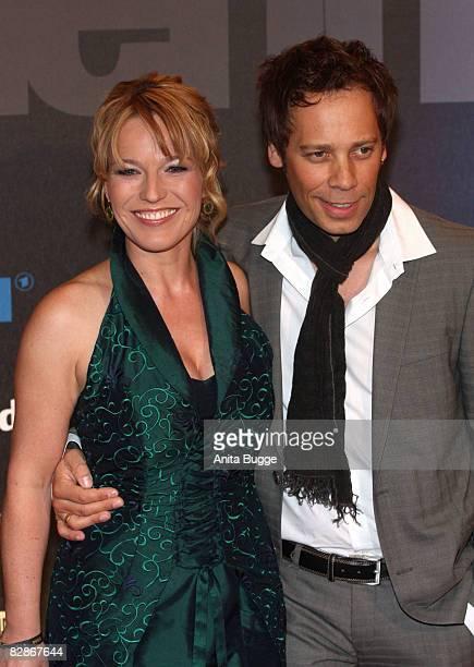 Andrea Ballschuh and her husband Jem Atai attend the Goldene Henne Award 2008 at the Friedrichstadtpalast on September 17 2008 in Berlin Germany