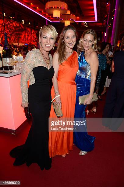Andrea Ballschuh AnnKathrin Kramer and Gesine Cukrowski attend the Deutscher Fernsehpreis 2014 after show party at Coloneum on October 2 2014 in...