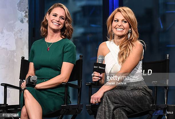Andrea Barber and Candace Cameron Bure attend the AOL Build Speakers Series to discuss 'Fuller House' at AOL Studios In New York on February 25 2016...