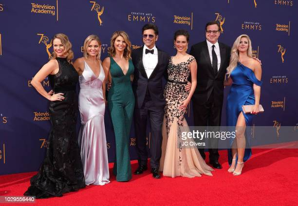 Andrea Barber Candace Cameron Bure Lori Loughlin John Stamos Caitlin McHugh Bob Saget and Kelly Rizzo attend the 2018 Creative Arts Emmy Awards at...