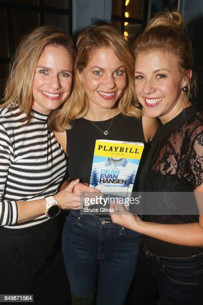 Andrea Barber Candace CameronBure and Jodie Sweetin pose backstage at the musical 'Dear Evan Hansen' on Broadway at The Music Box Theater on...