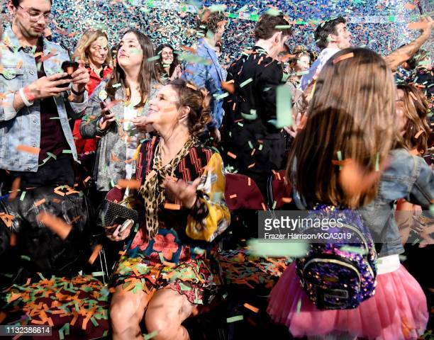 Andrea Barber gets confettied at Nickelodeon's 2019 Kids' Choice Awards at Galen Center on March 23 2019 in Los Angeles California