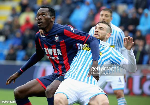 Andrea Barberis of Crotone competes for the ball with Alberto Grassi of Spal during the serie A match between FC Crotone and Spal at Stadio Comunale...
