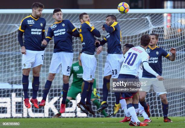 Andrea Barberis of FC Crotone scores the opening goal during the serie A match between Hellas Verona FC and FC Crotone at Stadio Marc'Antonio...
