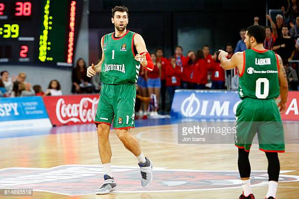 Andrea Bargnani #1 of Baskonia Vitoria Gasteiz in action during the 2016/2017 Turkish Airlines EuroLeague Regular Season Round 1 game between...